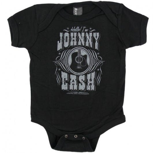 Johnny Cash Hello! I am baby romper zwart