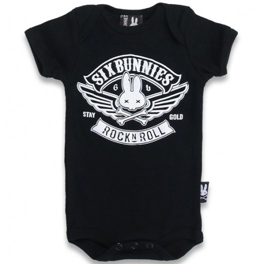 Rock N Roll Six Bunnies baby romper