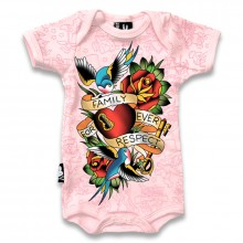 Family tatoeage Six Bunnies baby romper roze